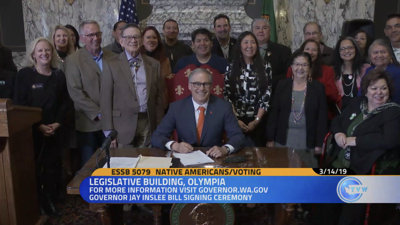 Gov. Jay Inslee signed into law, Thursday in Olympia, legislation aimed at improving voting access to tribal communities.