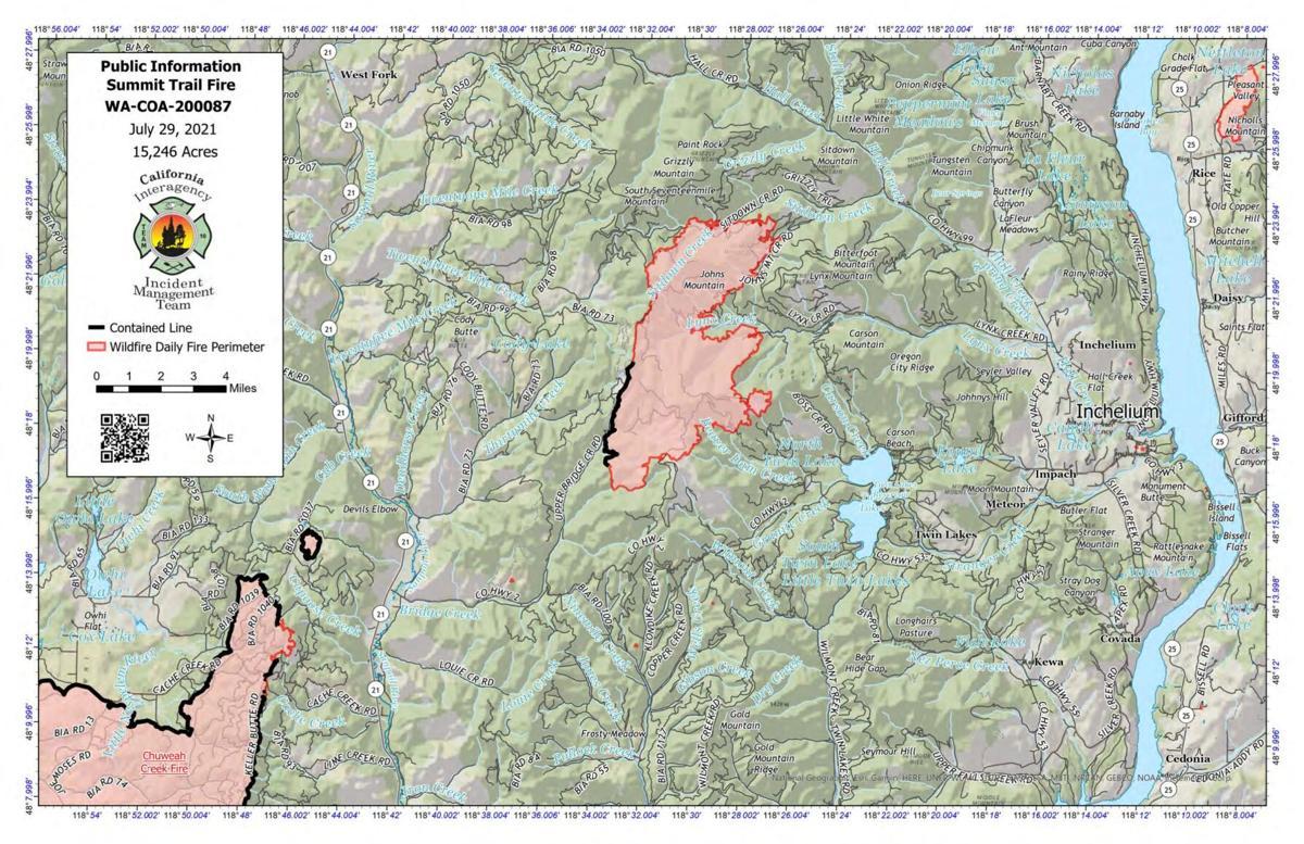 Summit Trail Fire Map, July 29