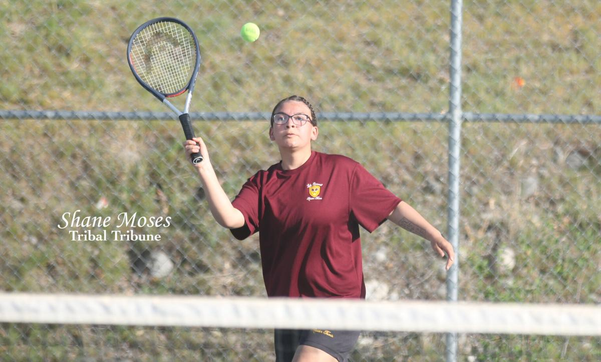 Colville Tribal member Terai Shanklin-Bob of Lake Roosevelt returns a shot over the net on Wednesday (April 21) afternoon in Central Washington 2B League action