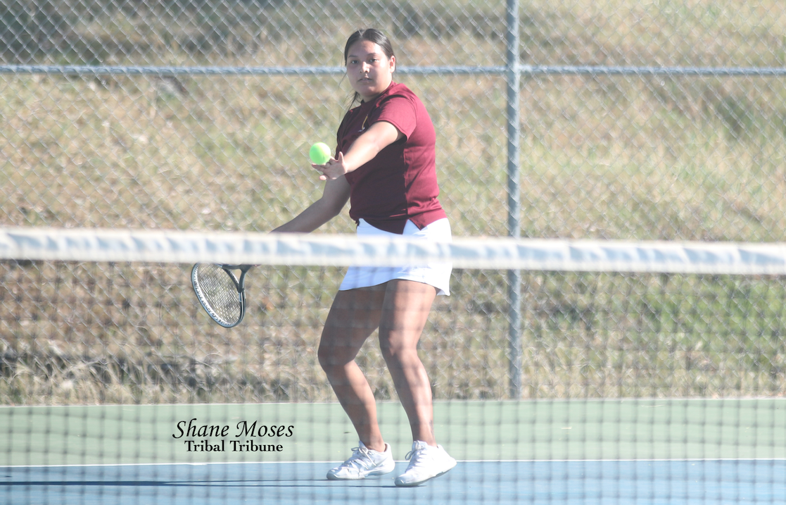 Colville Tribal member Raven Clark of Lake Roosevelt gets ready to return a forehand shot on Wednesday (April 21) afternoon in Central Washington 2B League action