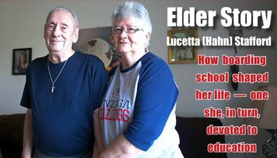 Tribal elder Lucetta Stafford (right) with her husband Larry
