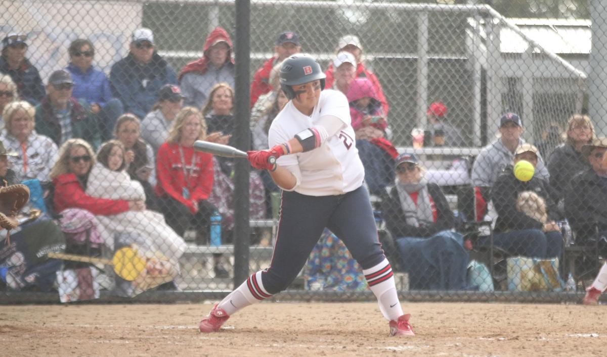 Nashoni Boyd of Bellevue takes a swing during the Lady Bulldogs first game against Skagit Valley on Saturday (May 18) afternoon