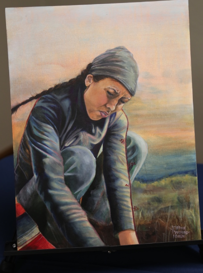 A self-portrait by artist Stefanie Marchand Reuben featured at this evening's event in Spokane.