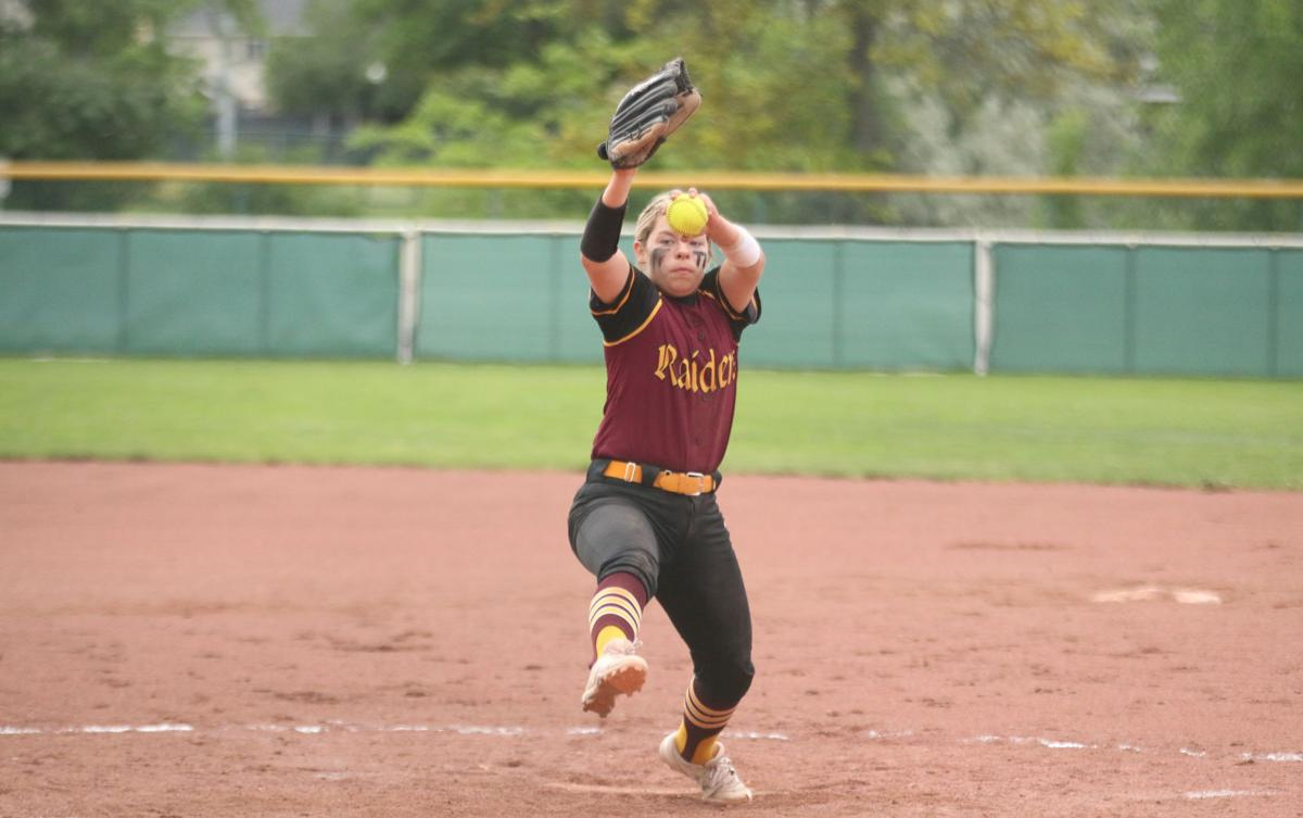 Colville tribal descendant Cassidy Reyes of Lake Roosevelt pitches for the Lady Raiders against Toledo on May 24 at the 2B girls softball state tournament