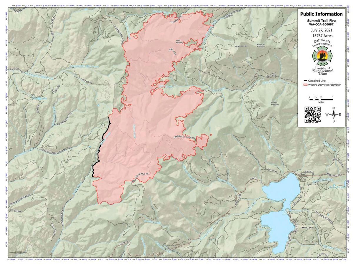 Summit Trail Fire map, July 27
