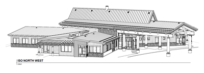 A design drawing of the Colville Tribal Substance Abuse Treatment Facility.