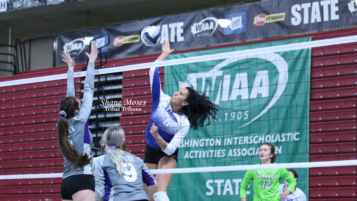 Colville tribal member Mia Pakootas of Lakeside spikes a shot against Nooksack Valley in the WIAA 1A State Volleyball Tournament at the Yakima Valley SunDome on Friday (Nov. 15) evening. Lakeside outlasted Nooksack Valley 3-2.