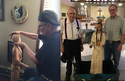 Left: Tribal member Brian Phillips carving his Saint Kateri sculpture. Right: Tribal member William Clark and Father Pat Twohy.