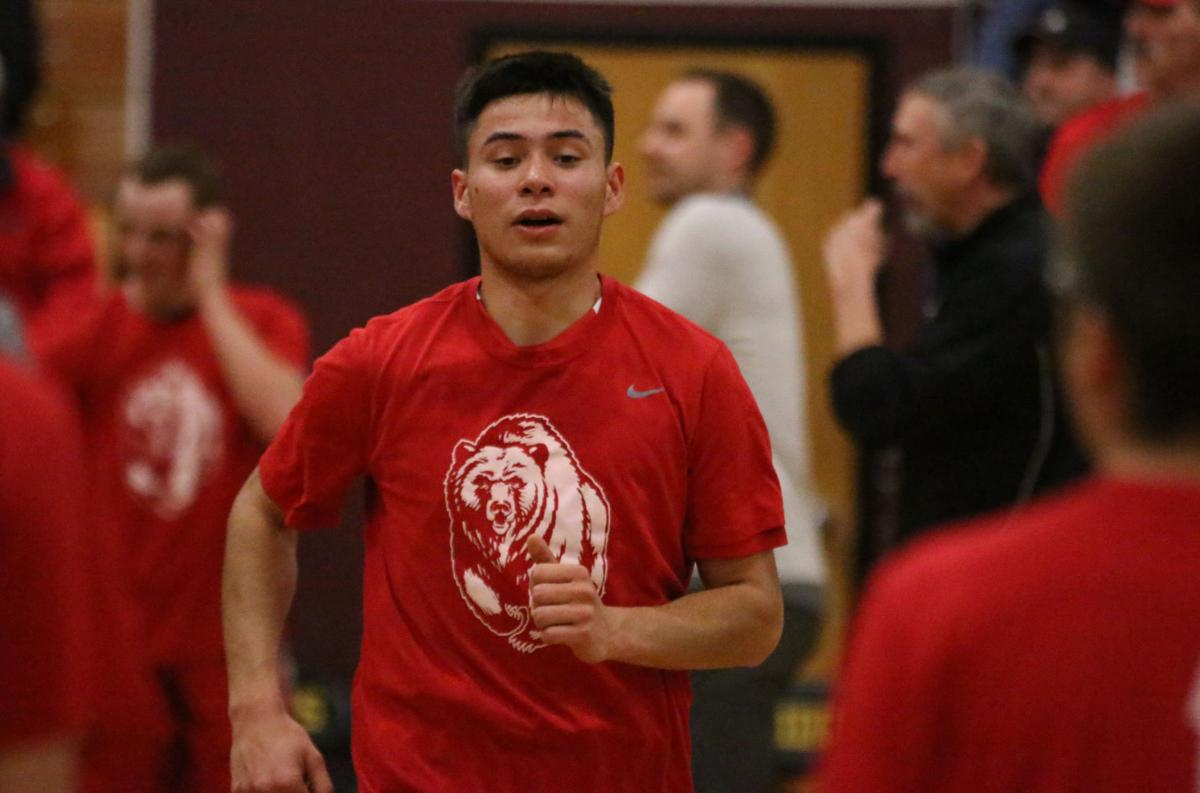 Colville tribal member Ernie Nanamkin of Brewster being introduced at the beginning of the game against Lake Roosevelt on Monday evening in CWB 2B action.