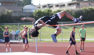Nate Johnson of Lynnwood clears 5-foot-2 at the Wesco 3A Championships on May 8