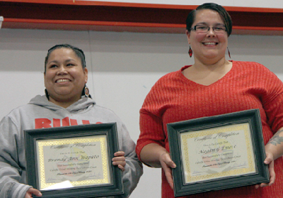 Brandy Wapato and Megan Emert hold certificates of completion from the Colville Tribal Courts Healing to Wellness Program Tuesday in Inchelium