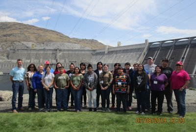 Rodney Cawston, CCT Chairman joined the group at the Grand Coulee Dam and sheared tribal history and information about Natural Resources.