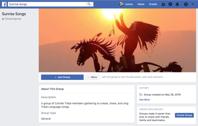 A screenshot of the Facebook group, Sunrise Singers.