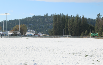 The Inchelium School football field, which has been recently modernized, sits covered in a blanket of snow, Oct. 26.