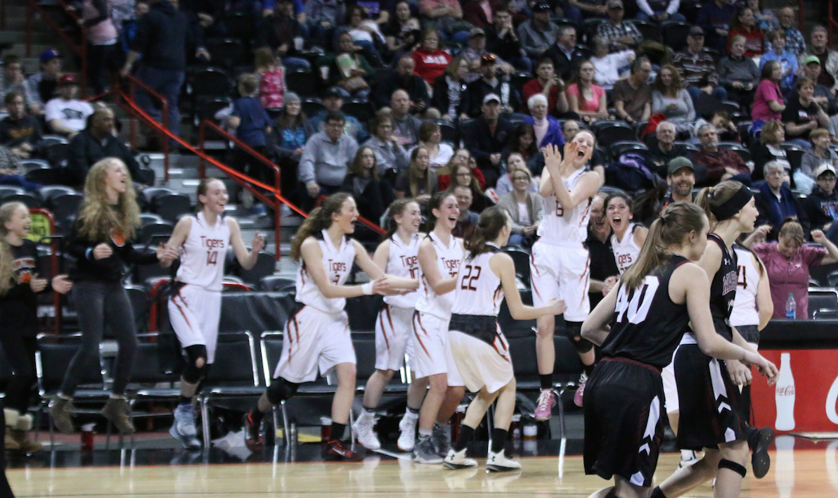 Republic celebrates after beating Almira/Coulee-Hartline 51-29 in the 2017 1B Girls Hardwood Classic State Tournament Championship Game on Saturday, March 4, 2017 at the Spokane Arena in Spokane, Wash.
