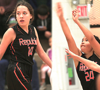 Republic's Josephine Pakootas (#14) and Kayla Tonasket (#24) are part of the future of Republic basketball. The team is 3-5 as of deadline, but are scrappy, as their coach says