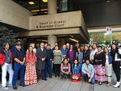 Tribal leaders, members and lawyers outside the British Columbia Court of Appeal in Vancouver, B.C., yesterday.