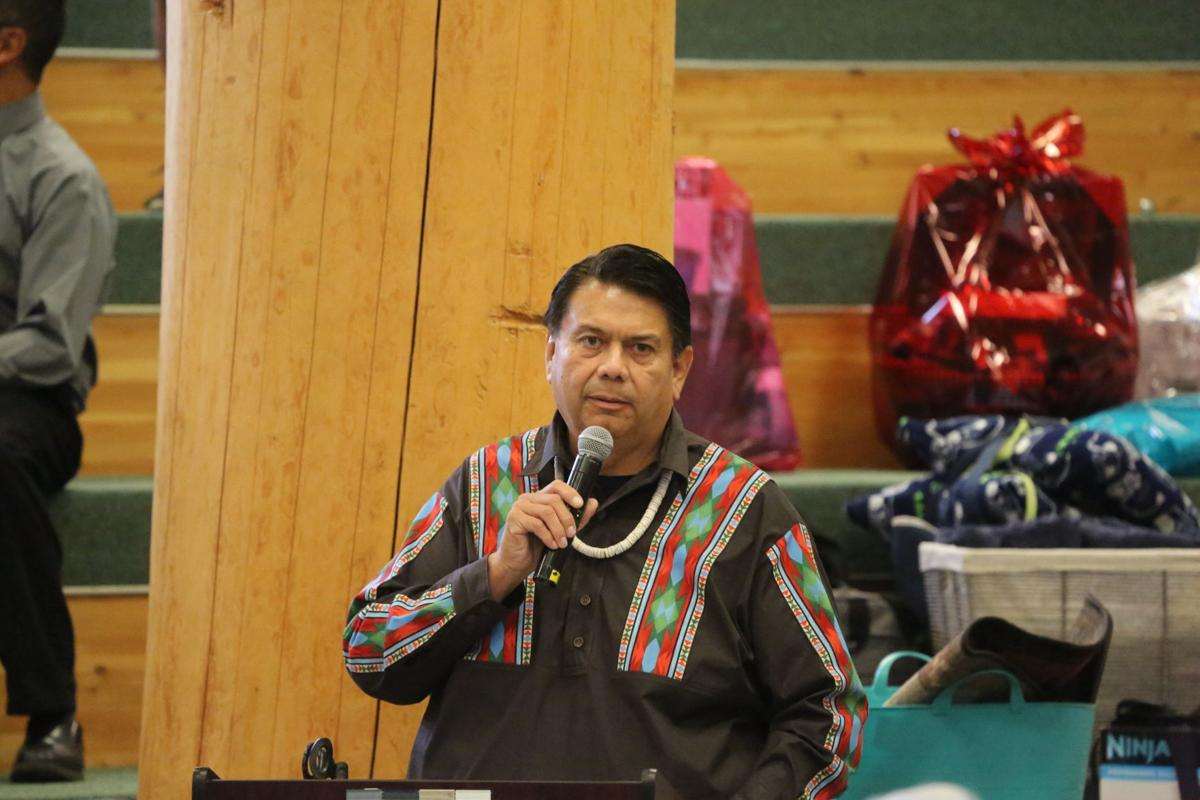 Colville Business Council chair Rodney Cawston speaks at the 2018 General Membership meeting in Omak, Oct. 2018..jpg