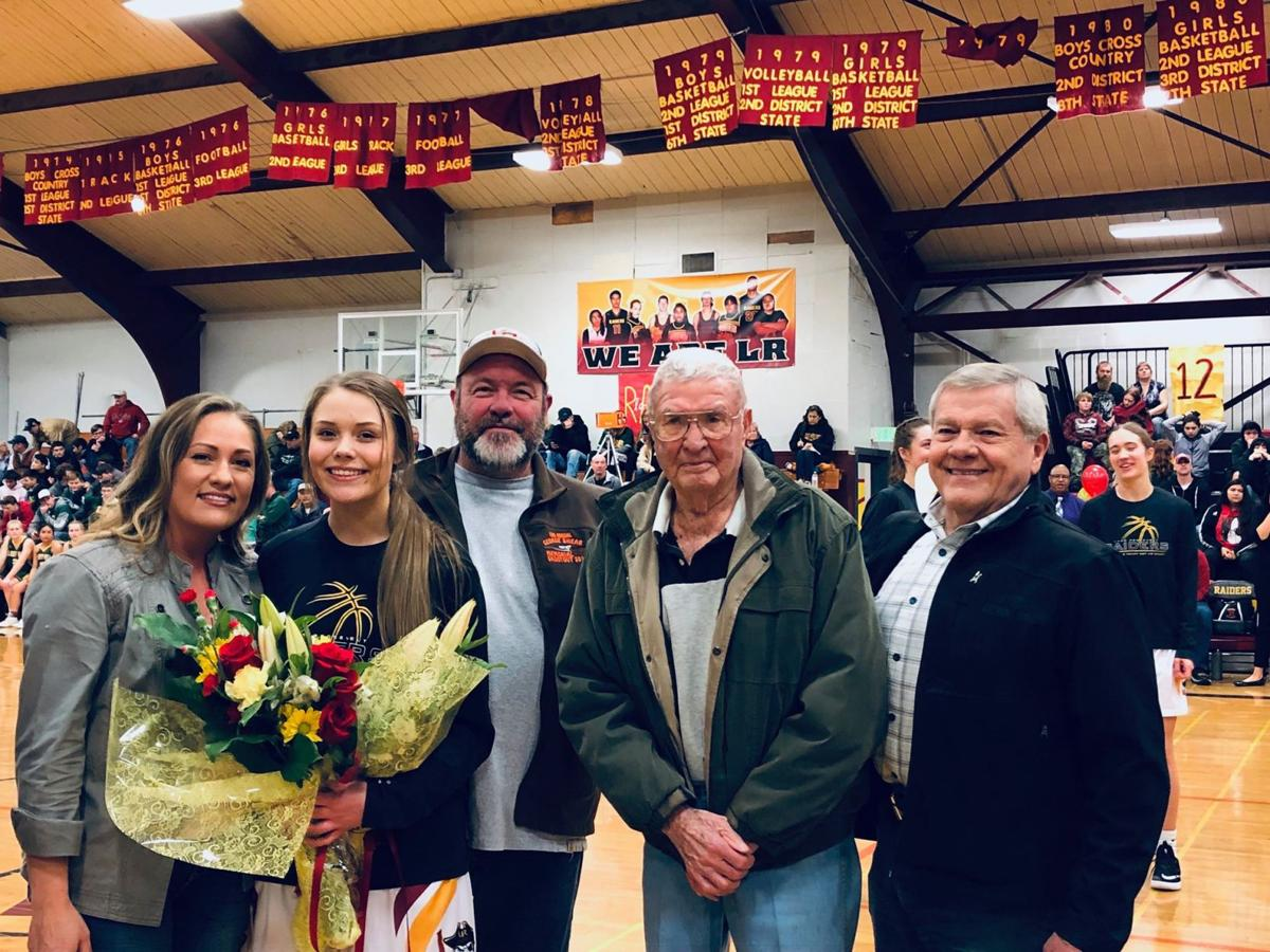 Whitelaw at his great-granddaughter Lily Clark's senior night basketball game for Lake Roosevelt High School.