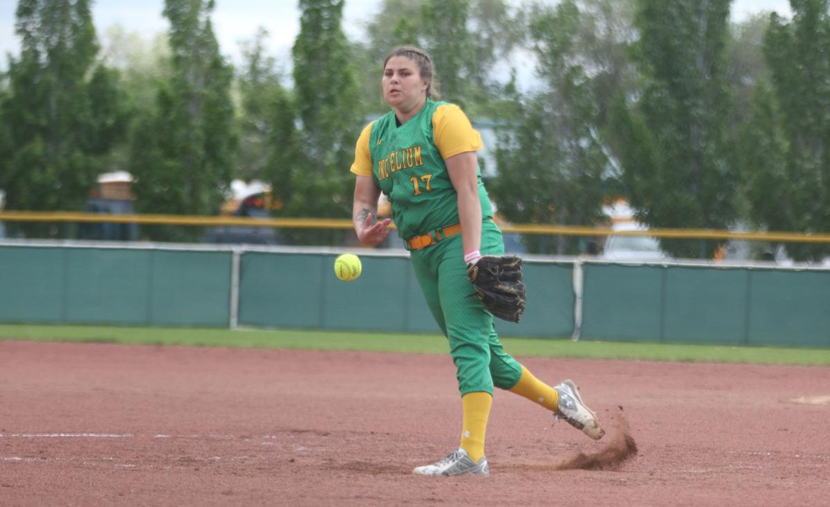 Meika Heath (Colville tribal member) pitches against Naselle on Friday afternoon at the 1B Girls state tournament