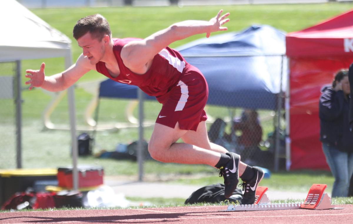 Julian Cates (maroon) of Okanogan gets off to a fast start in the 400 meters at the NCW Invite at Wenatchee on Saturday (April 27) afternoon