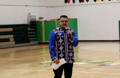Inchelium principal Barry Warren addresses the student body, Sep. 3 in Inchelium.