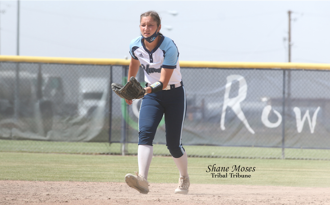 Colville tribal member Rylee Desautel playing second base for Columbia Basin gets ready to field a ball against Big Bend (May. 27) in Northwestern Athletic Conference action.
