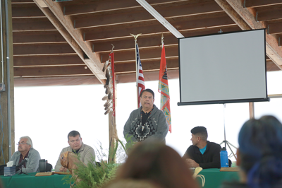 Colville Business Council Chairman Rodney Cawston addresses tribal members at the 2019 General Membership meeting in Inchelium, Oct. 4.