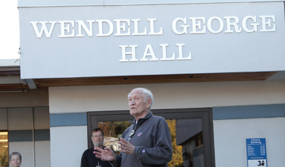 Colville tribal elder Wendell George addresses those gathered to see Wenatchee Valley College unveil the new name of their Omak campus building, Wednesday. George, a former Colville Business Council member, served on the WVC Board of Directors from 1992 to 2003.