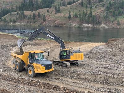Construction continues at the Lake Rufus Woods RV Site - Net Pens in phase two of the Colville Confederated Tribes' project. The $906,000 contract was funded through Washington Department of Fish and Wildlife.