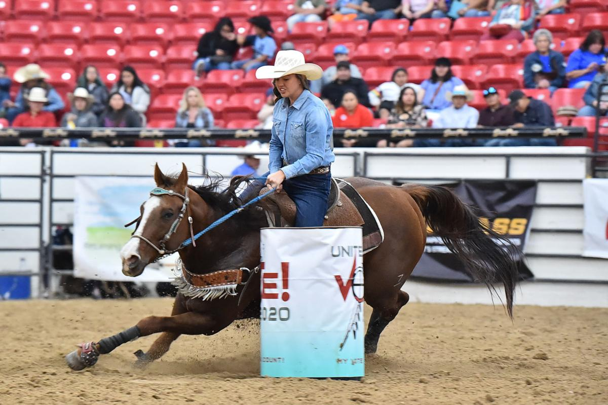 Colville tribal member Kaelyn Marchand competes in the ladies barrels at this year's Indian National Finals Rodeo (Oct. 22-26) at the South Point Equestrian Center in Las Vegas, Nevada