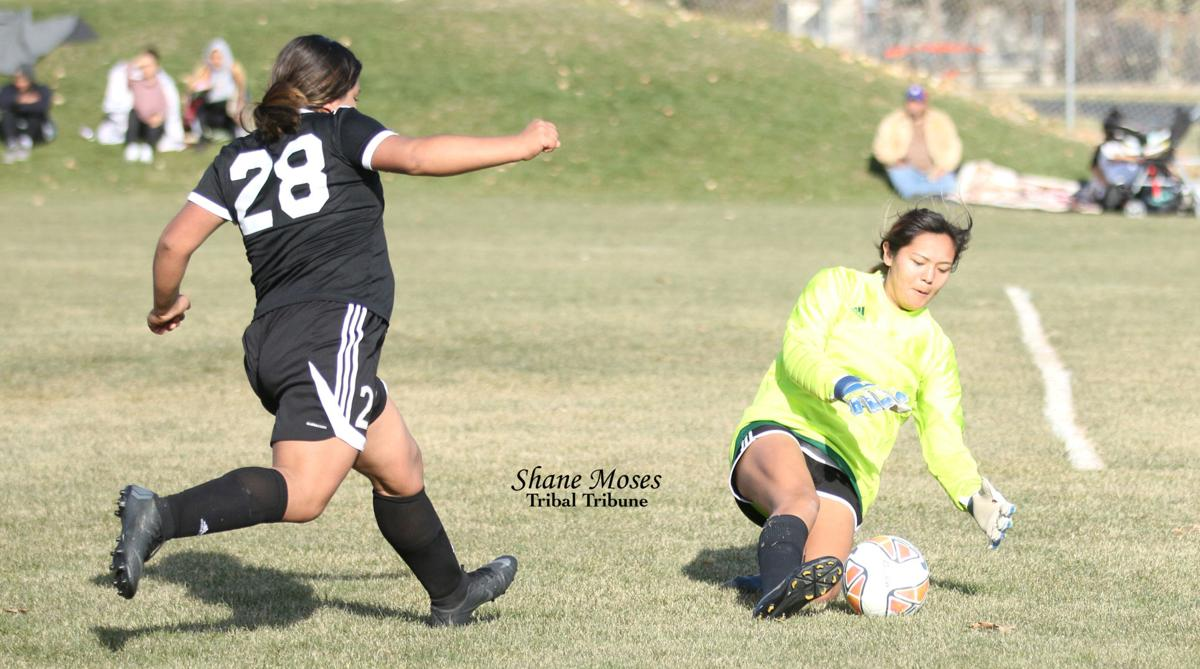 Lake Roosevelt goalie Kyona Edmo (Colville tribal member) sweeps up the ball against Bridgeport on Saturday (Nov. 2) afternoon in CWA 2B District Tournament