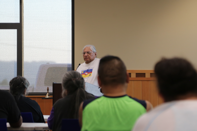 Colville tribal elder Albert Andrews addresses those gathered at a meeting between the Colville Business Council and Nez Perce Longhouse Rebuilding Committee, Monday.