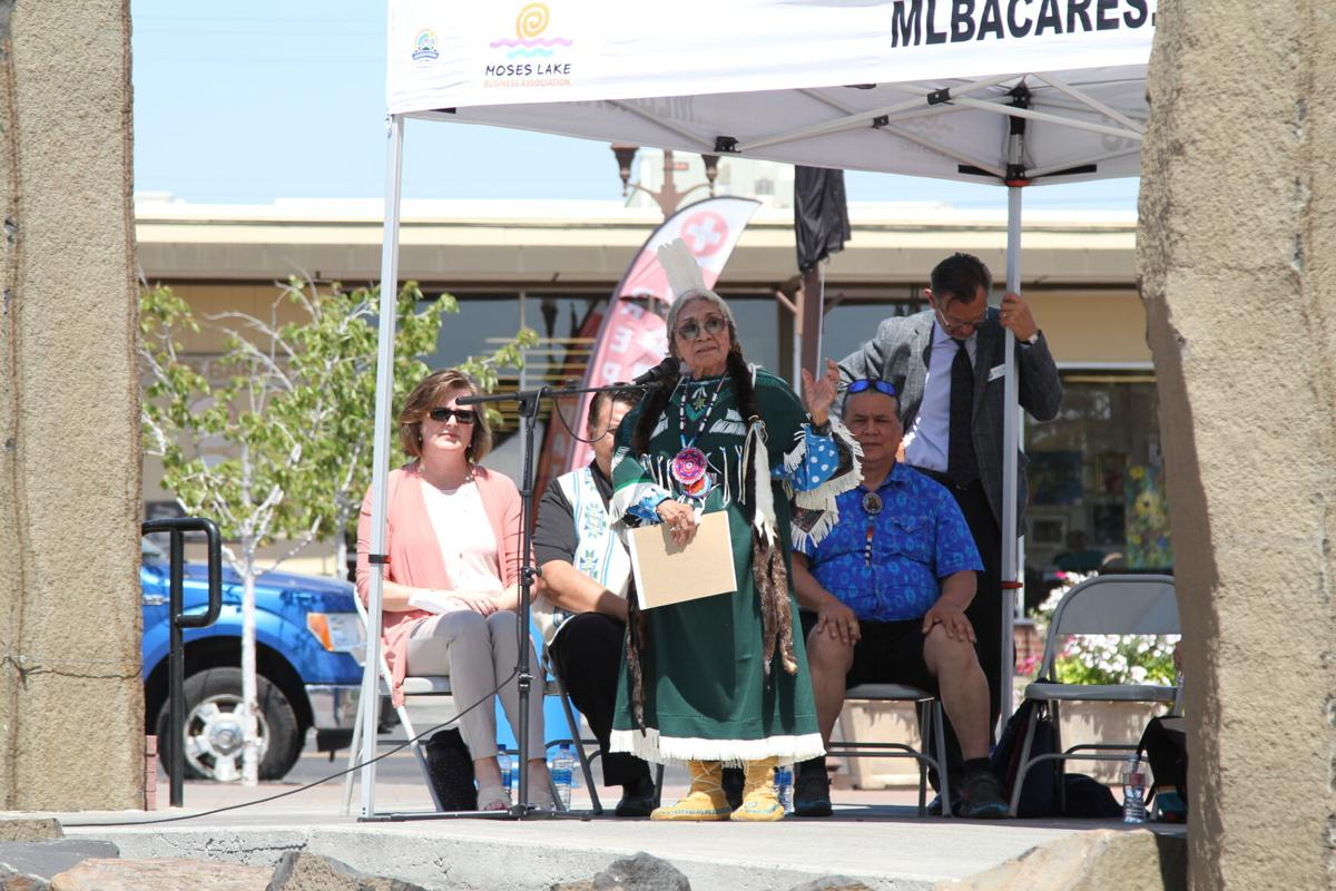 Colville elder Barbara Aripa speaks during an unveiling ceremony honoring Chief Moses in Moses Lake, July 6