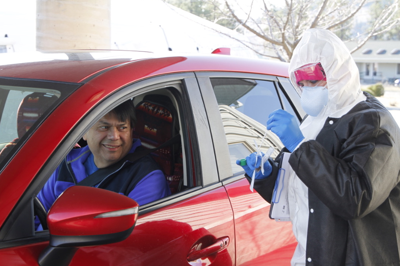 Colville Business Council Chair Rodney Cawston participates in the COVID-19 Drive-Thru Assessment in Nespelem, March 26.