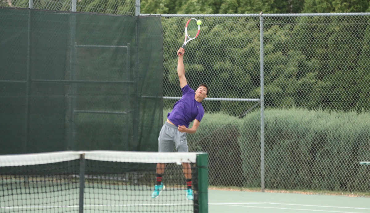 Ivan Ceniceros of Pateros gets ready to serve against La Salle on Saturday (May 25) evening at the 1B/2B/1A state tennis tournament held at the Yakima Tennis Club