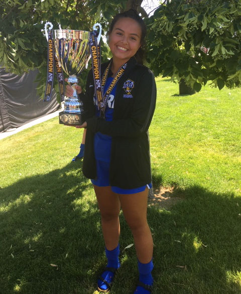 Darah Swan of the Eastern Washington Surf SC GO3 WNPL team holds up the NPA national Championship. Swan helped lead her squad to a 1-0 win over the New England Futbol Club on July 15