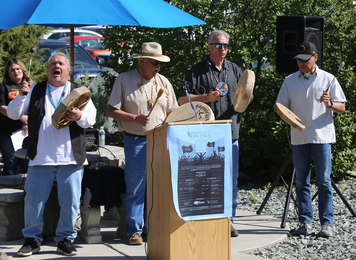 The Colville drum group Citizen sang at the Stand Against Racism event in Omak, Wednesday.