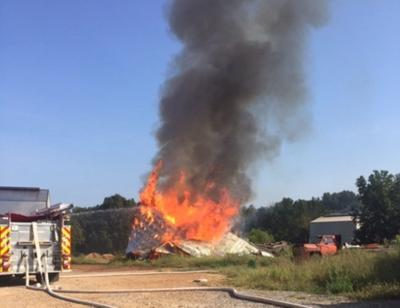 Firefighters tackle morning blaze at tobacco barn