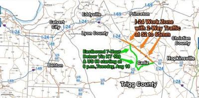 Temporary eastbound detour planned along I-24 work zone Tuesday evening