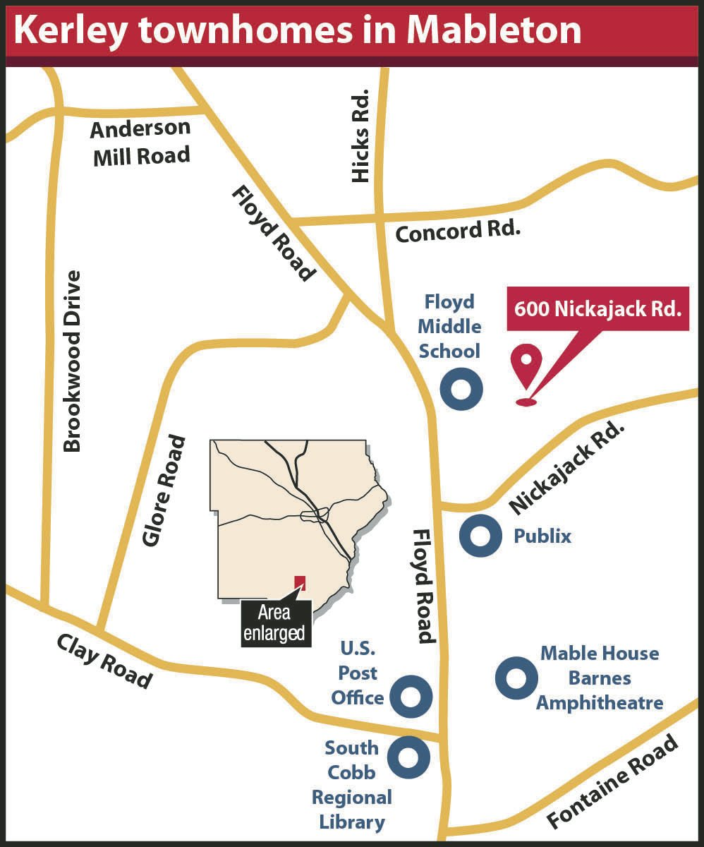 Kerley townhomes in Mableton locator map