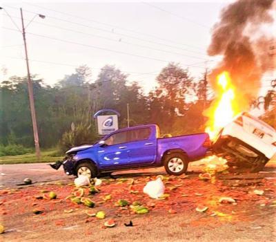 Suspected carjacker dies in fiery crash