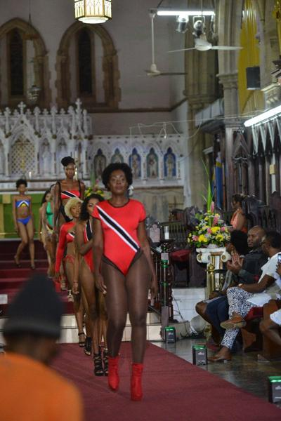 Models display swimwear in the national colours