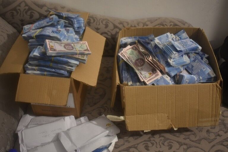 Boxes of cash found at a house in La Horquetta