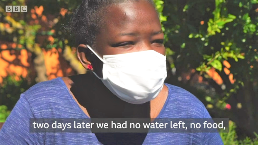 Aicha recalls her journey, drifting 22 days at sea in the BBC report  Source BBC Video.png