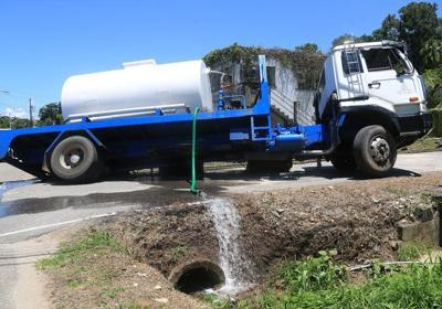 water truck empties water