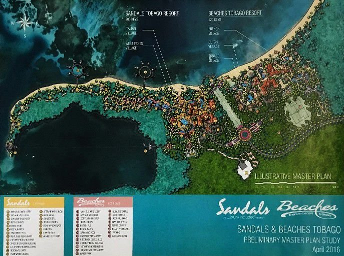 The Sandals and Beaches Tobago preliminary master plan map