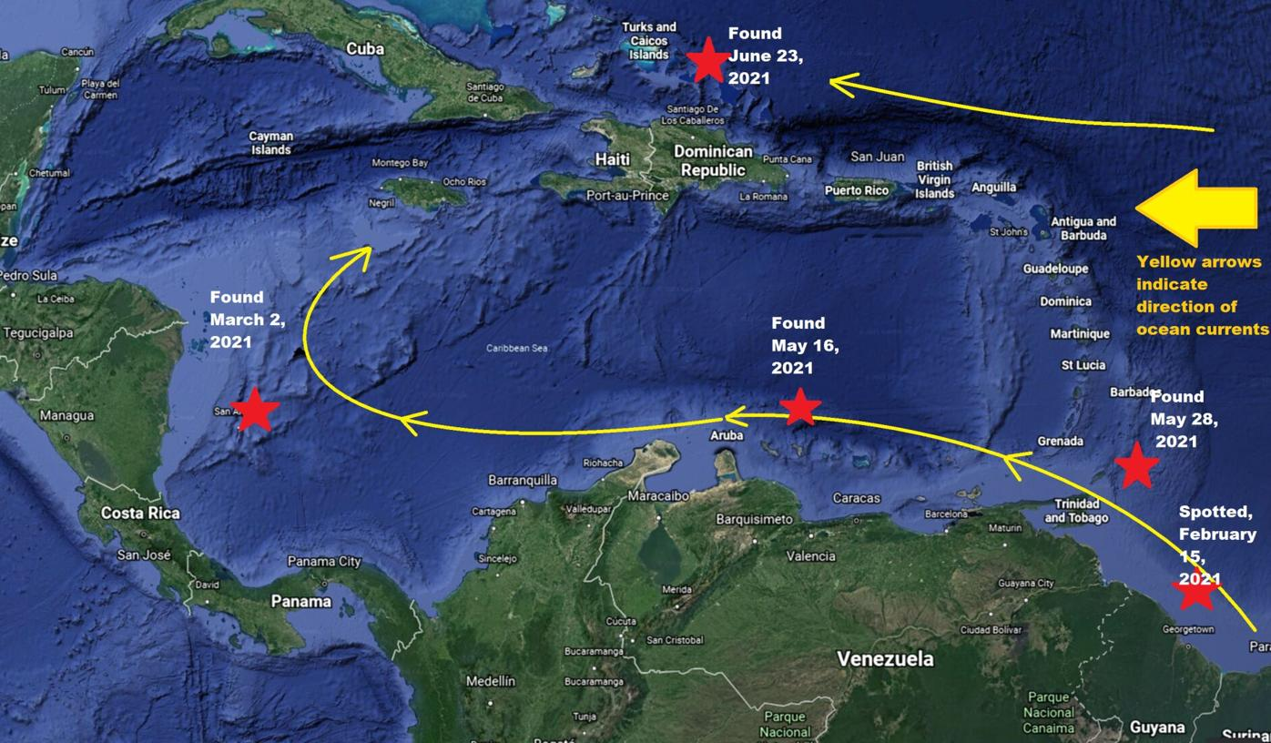 These are the locations where five boats containing bodies were found around th Caribbean this year.png