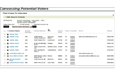 An example of the Constituent Relationship Management database which SCL Elections was building