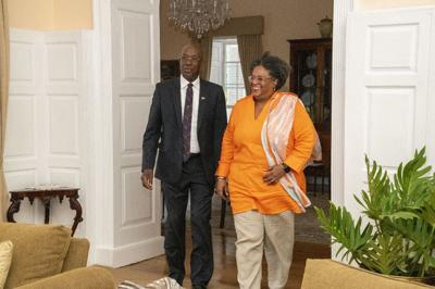 Keith Rowley and Barbados Prime Minister Mia Mottley